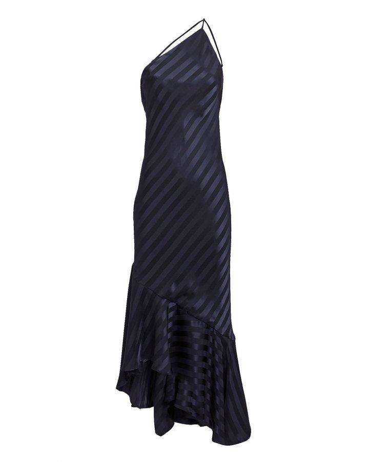 Navy One Shoulder Shadow Stripe Dress