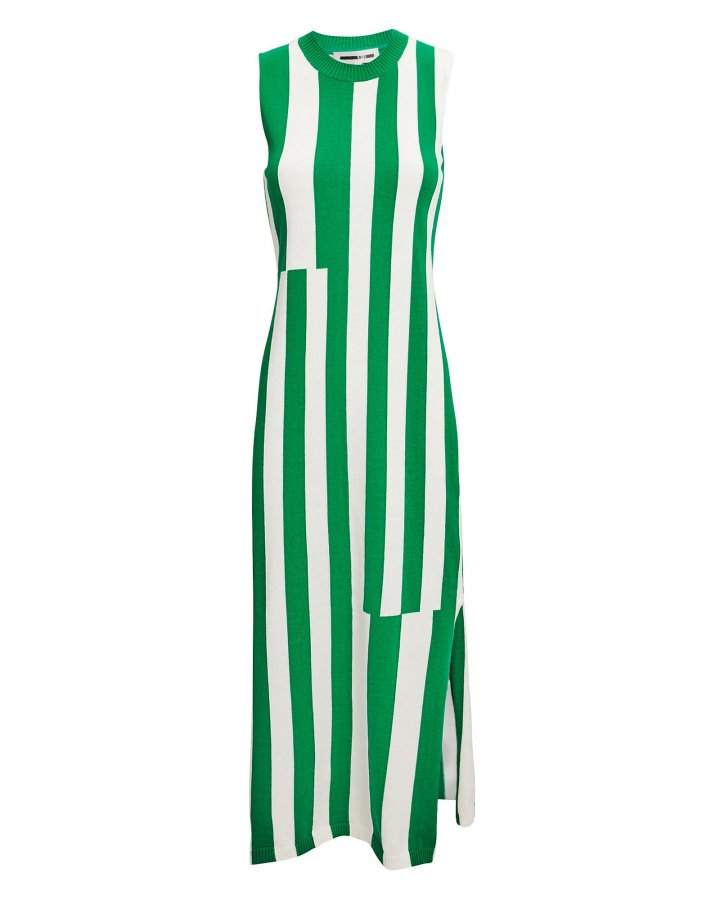 Green Striped Midi Dress