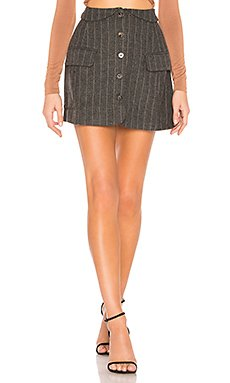 Wilshire Skirt In Charcoal & Brown Stripe                                             ASTR the Label