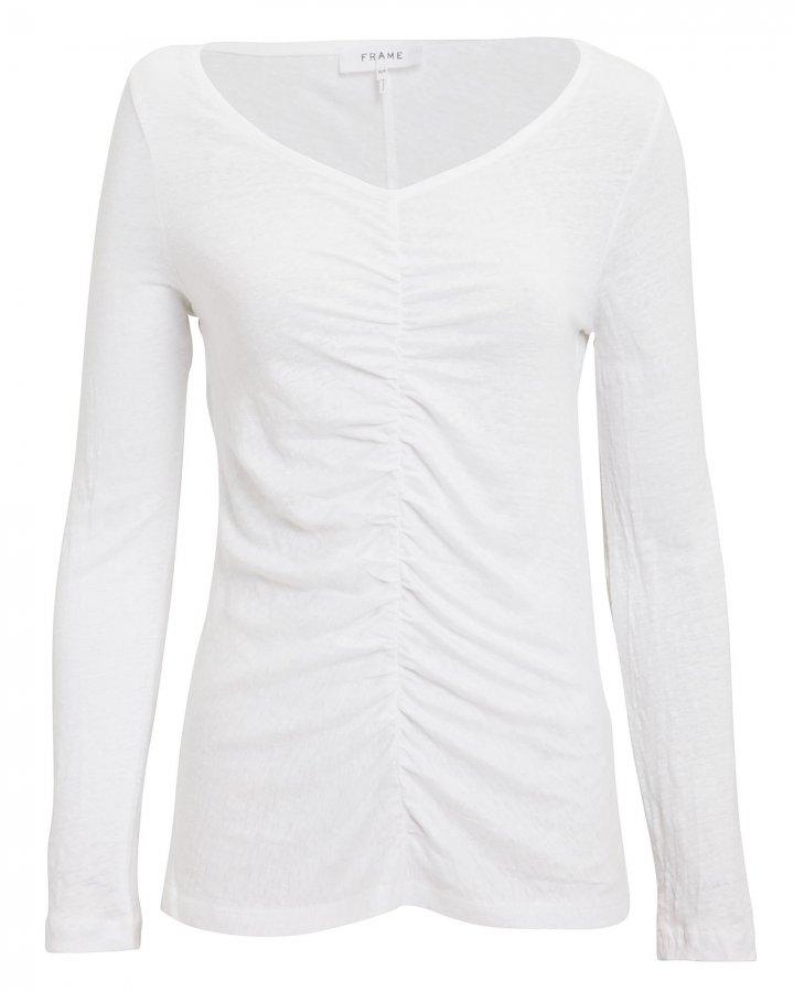 Shirred Linen T-Shirt