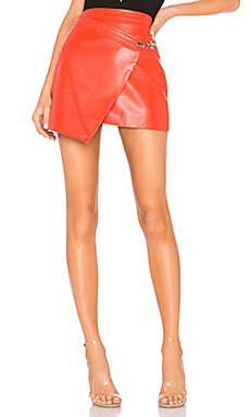 Faux Leather Wrap Skirt                                             BLANKNYC
