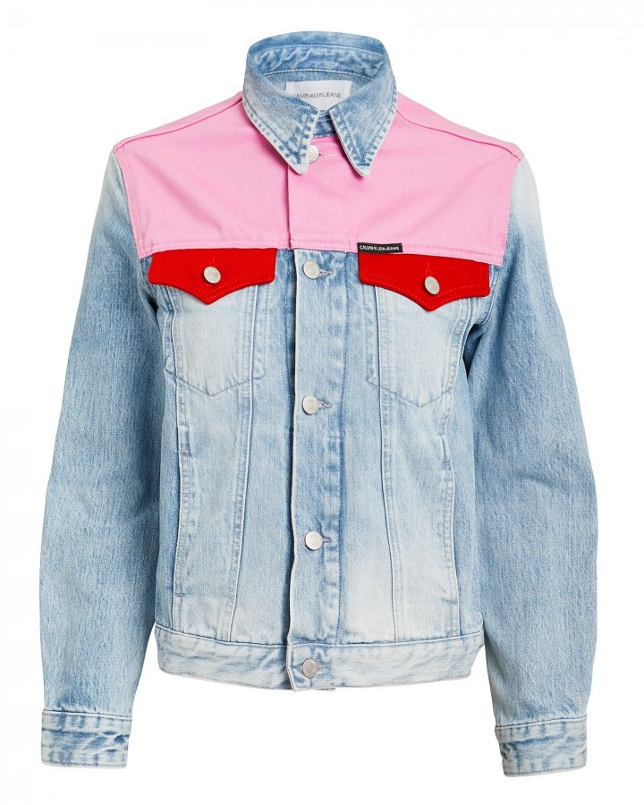 Pink Colorblocked Denim Jacket