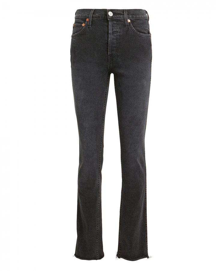 Double Needle Comfort Stretch Long Black Jeans
