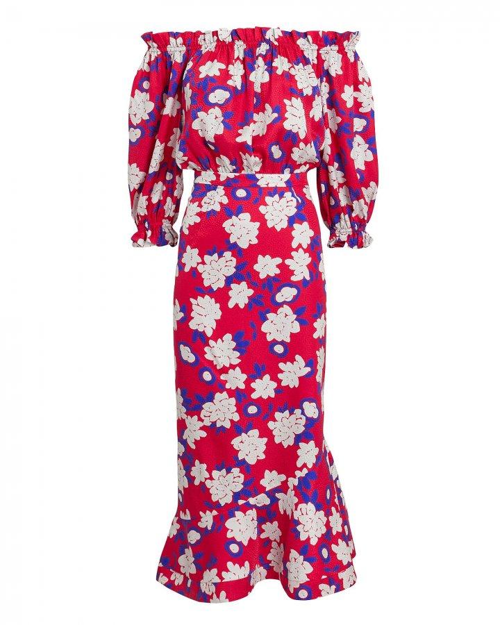Grace Off Shoulder Red Floral Dress