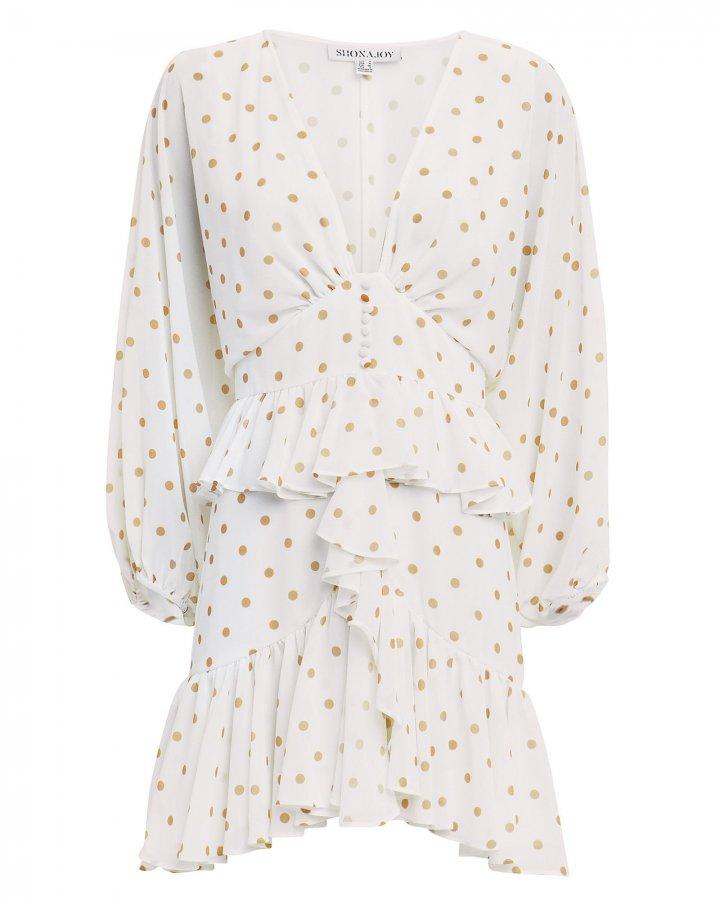 Plunge Polka Dot Ruffle Mini Dress