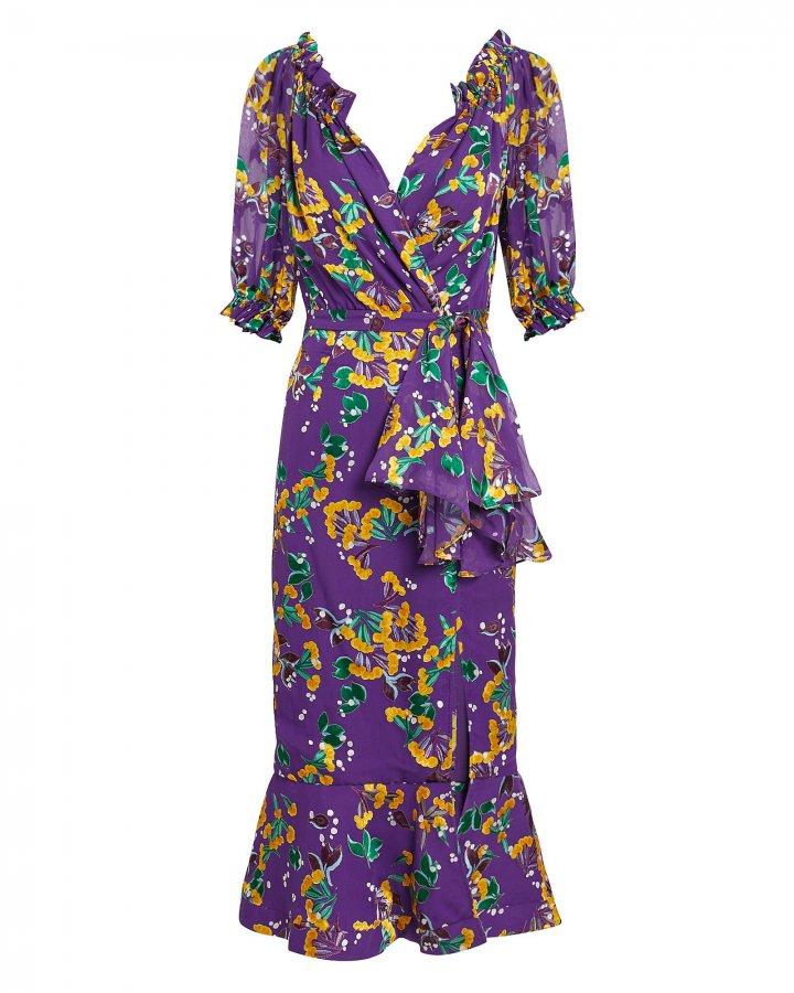 Olivia Purple Floral Midi Dress