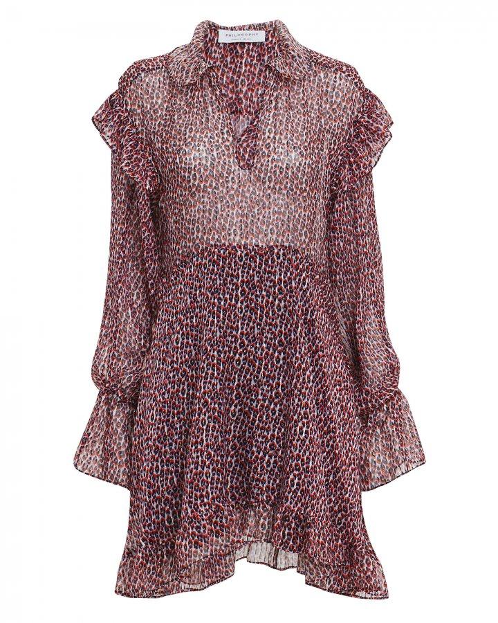 Red Leopard Chiffon Mini Dress