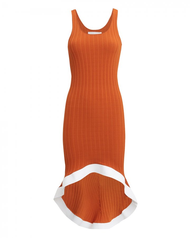 Rust Ribbed Knit Contrast Trim Dress