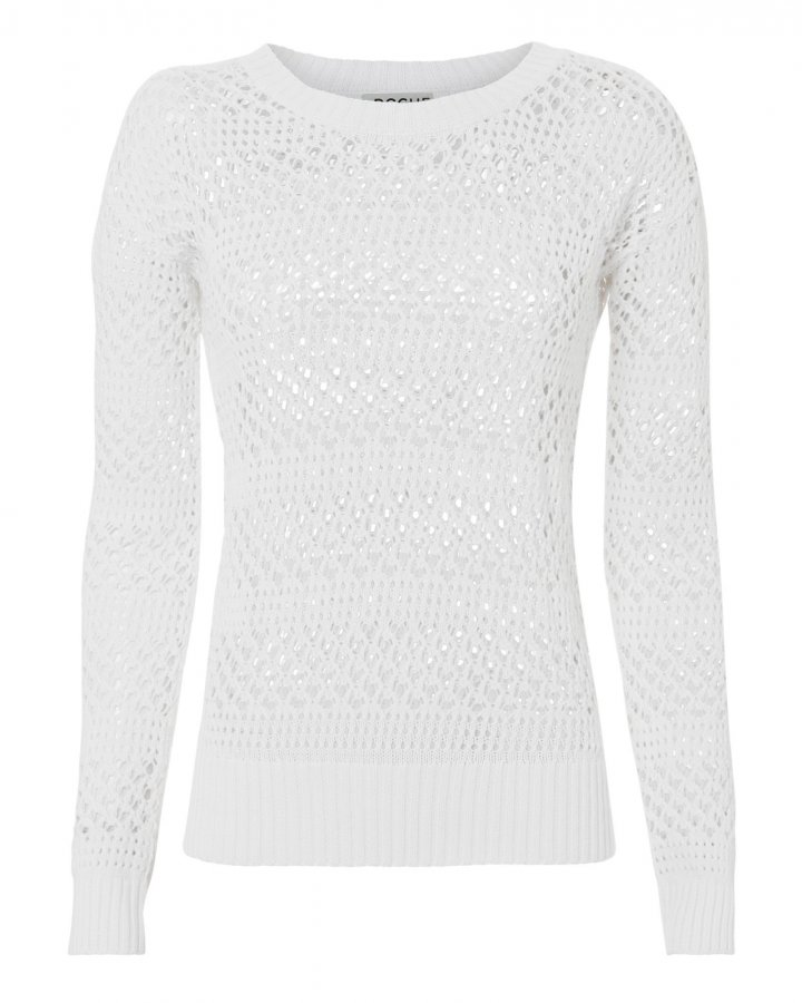 Natalia Open Knit White Sweater