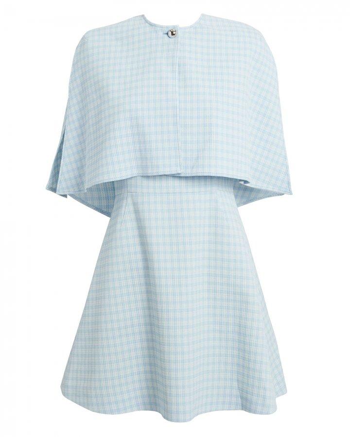 Blue Check Cape Mini Dress