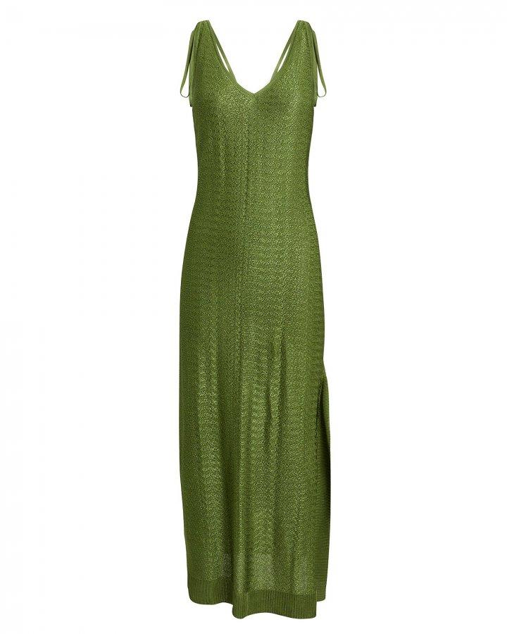 Moss Green Knit Midi Dress