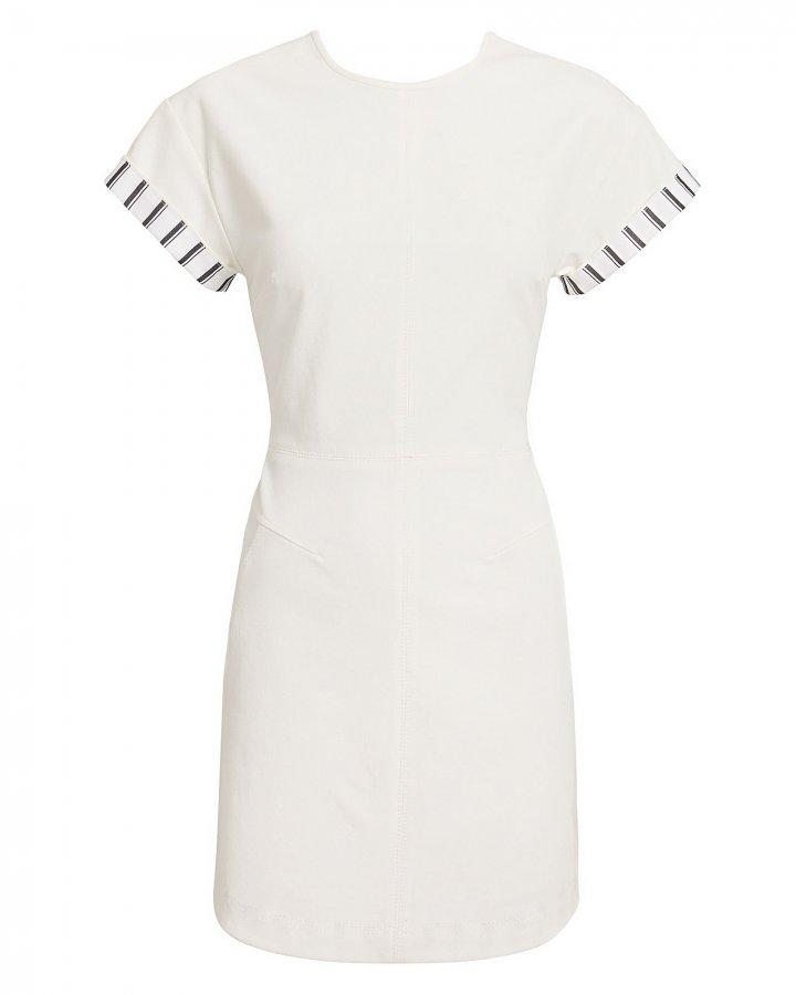 Striped Sleeve Ivory Mini Dress