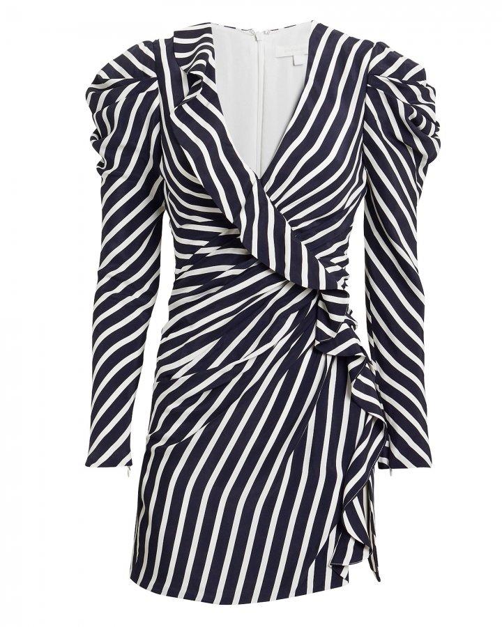 Navy Striped Ruffle Mini Dress