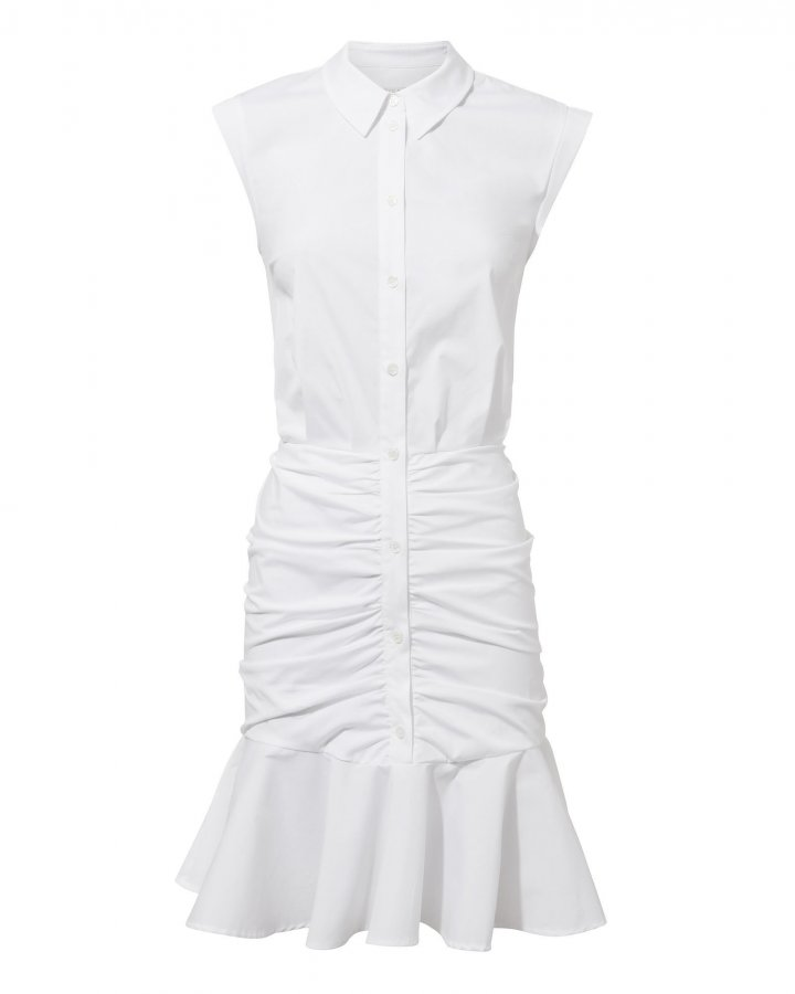 Bell White Ruched Dress