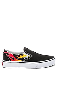Classic Slip On Flames in Black & Black & True White                                             Vans