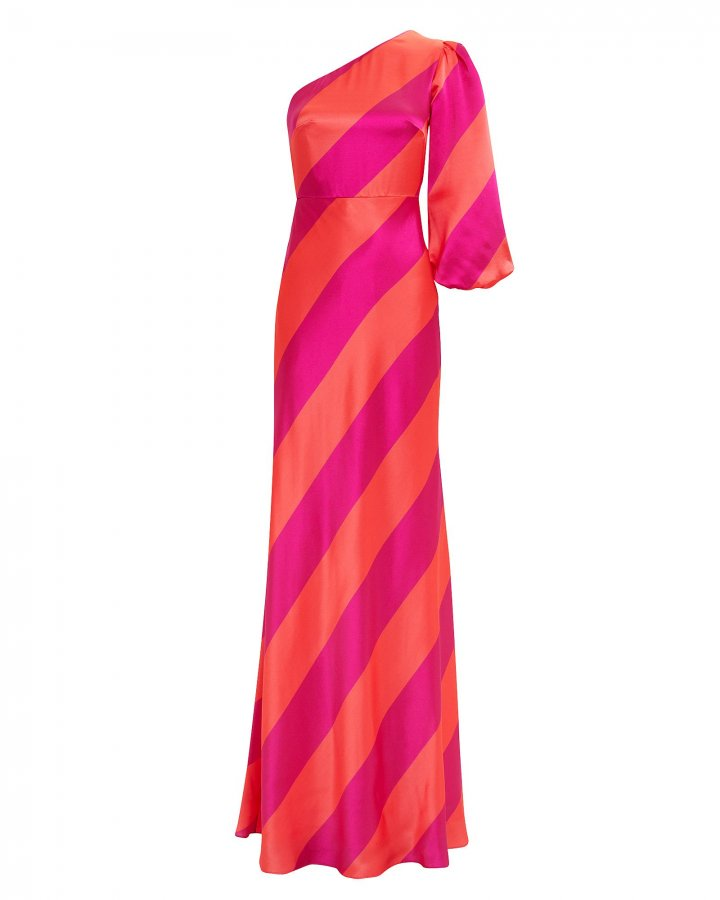Lily One Shoulder Striped Gown