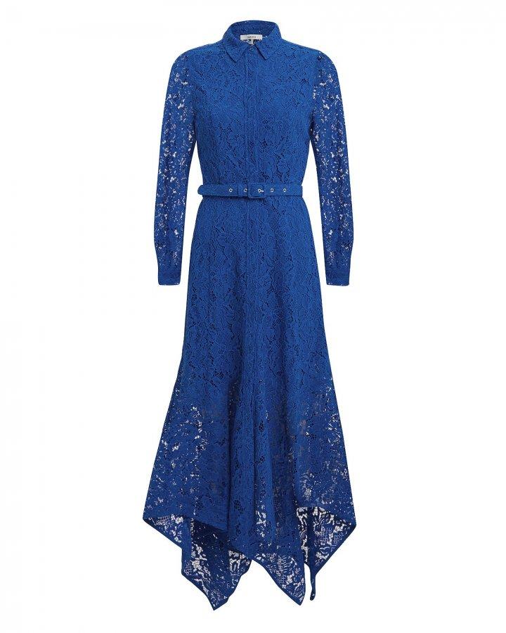 Cotton Lace Lapis Blue Midi Dress