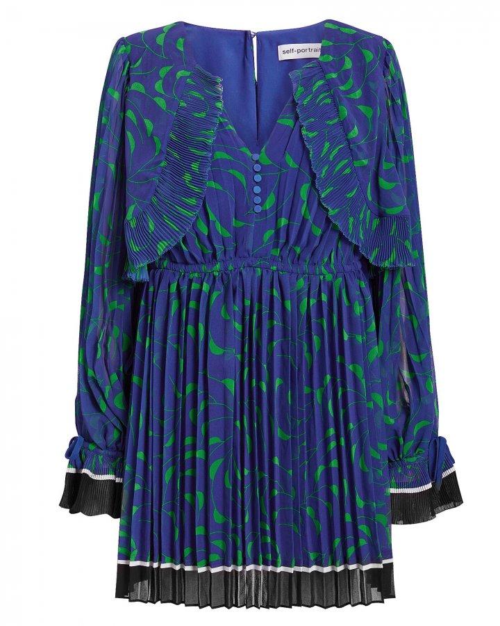 Crescent Printed Cape Blue Mini Dress