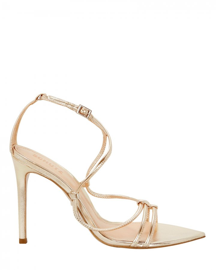 Evellyn Strappy Gold Leather Sandals