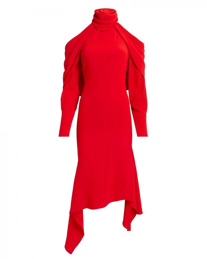 Cold Shoulder Drape Hem Red Dress