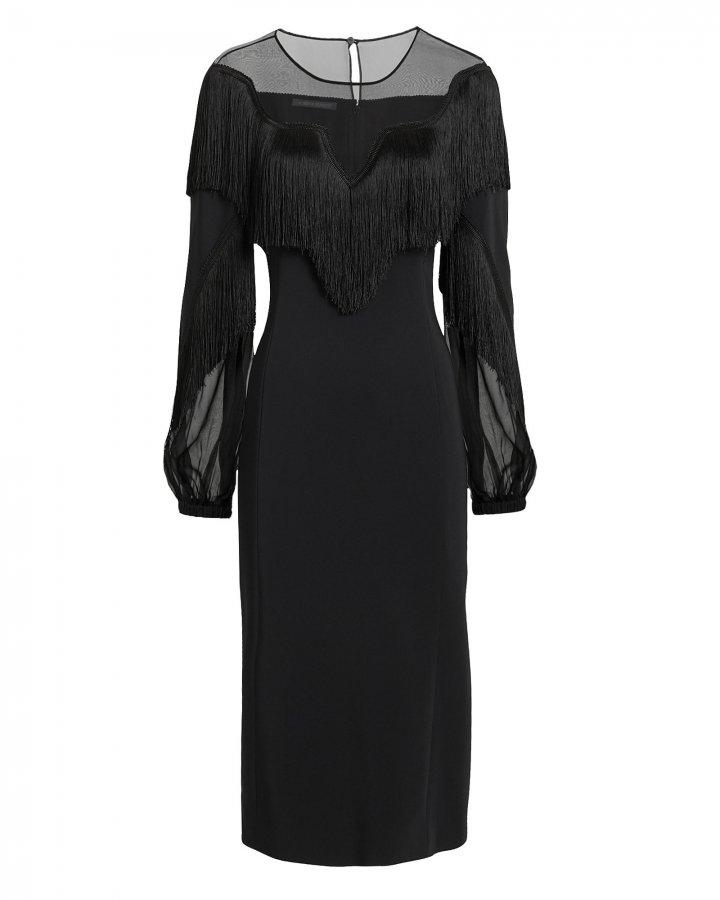Fringed Sheer Panel Black Dress