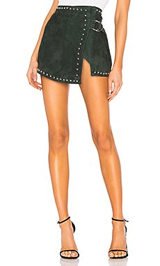 Studded Wrap Mini Skirt                                             Understated Leather