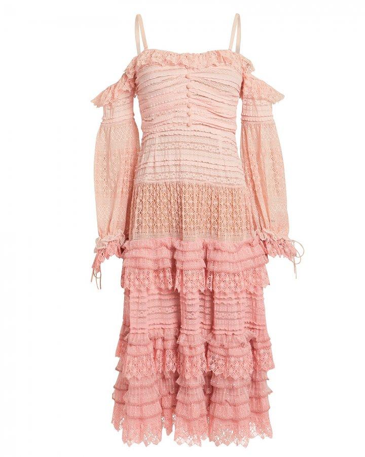 Mixed Knit Off Shoulder Dress