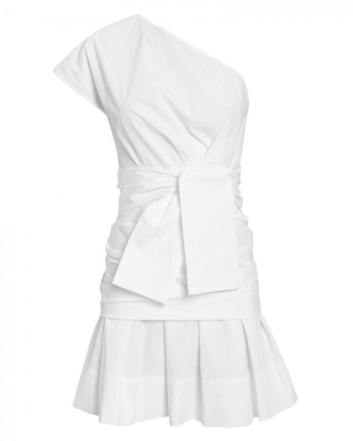 One Shoulder Gathered White Mini Dress