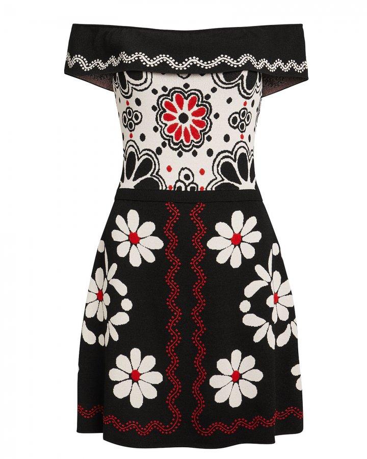 Intarsia Printed Knit Mini Dress