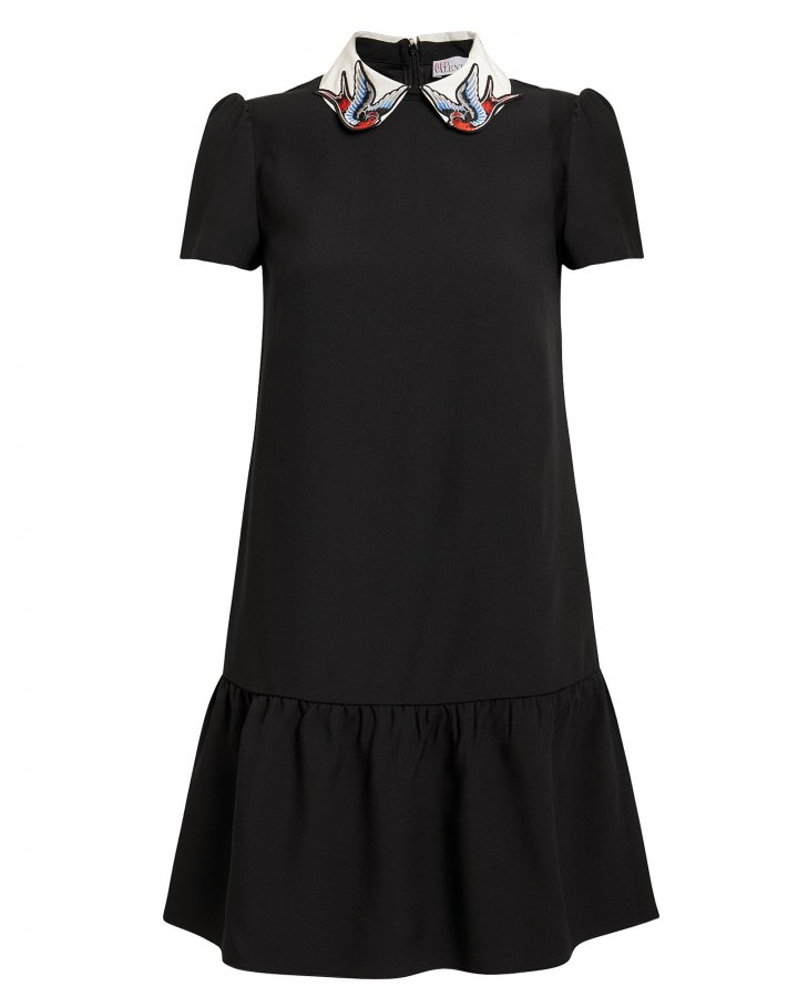 Embroidered Collar Black Mini Dress