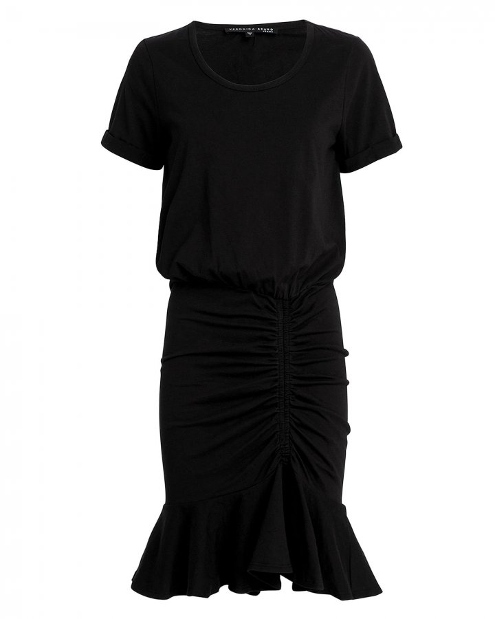 Pima Black Ruched Dress