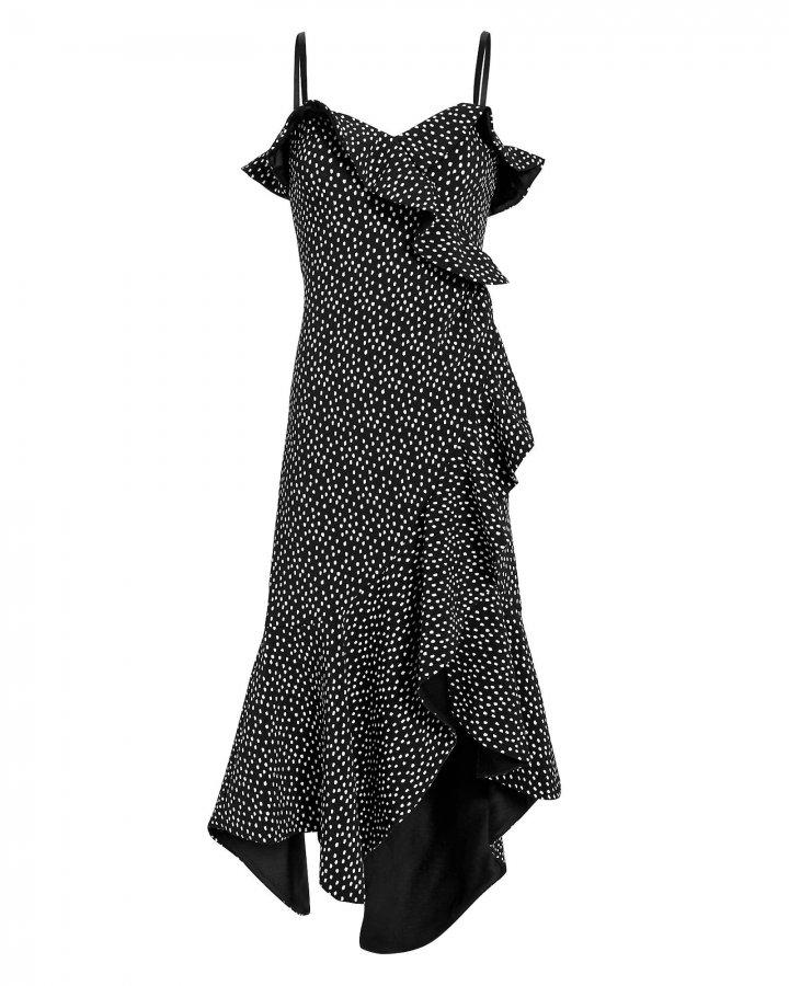 Speckle Print Asymmetrical Ruffle Dress