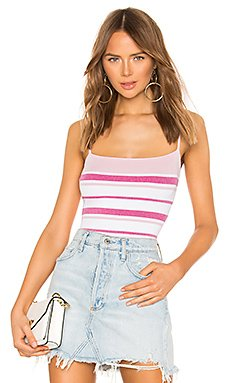 Dionne Striped Knit Bodysuit                                             superdown