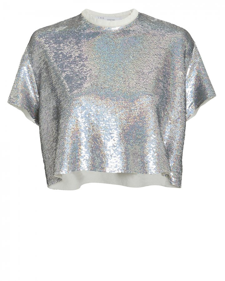 Natesa Silver Sequin Crop Top