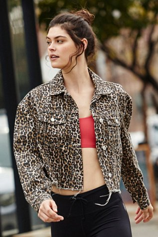 Cheetah Printed Cropped Denim Jacket