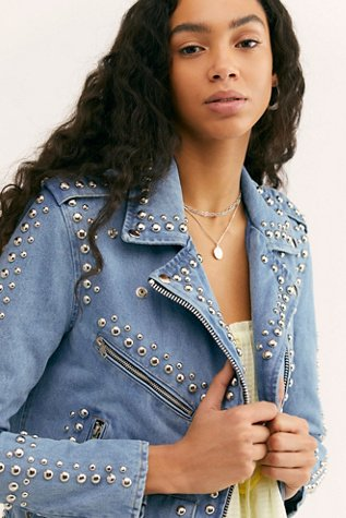 Studded Denim Moto Jacket