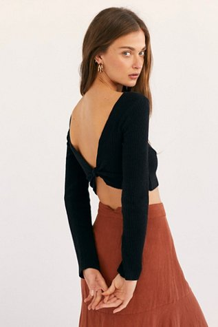 Rib Long Sleeve Crop Top
