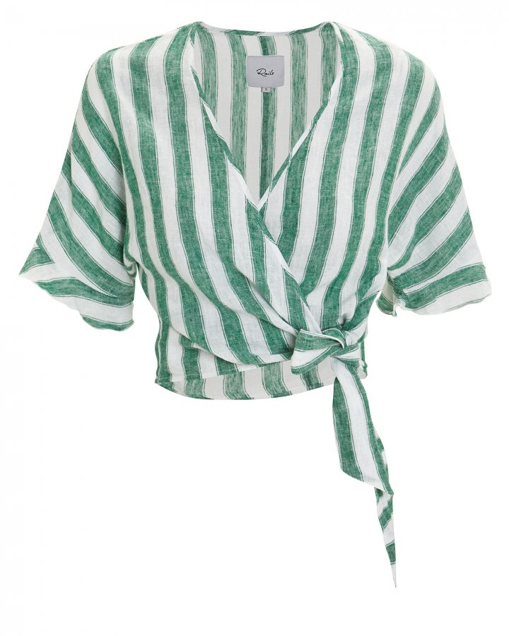 Athena Striped Wrap Top