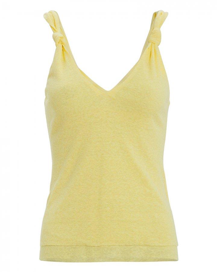 Knot Yellow Linen-Blend Tank