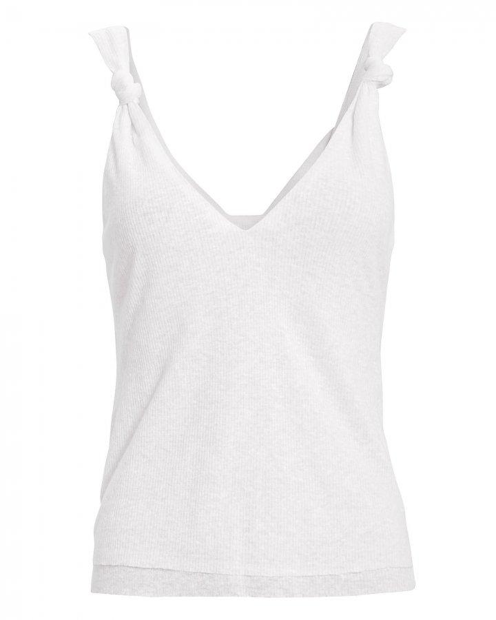 Knot White Linen-Blend Tank