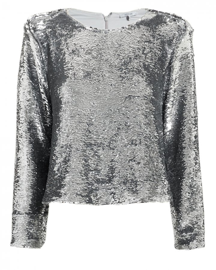 Crewneck Silver Sequin Top