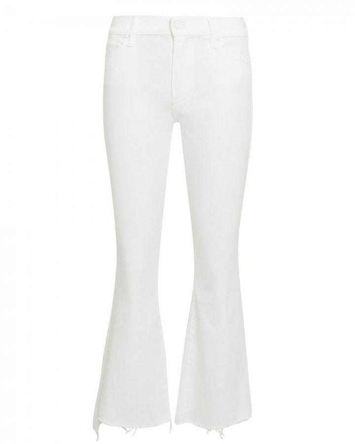 Insider Crop Step Fray White Jeans