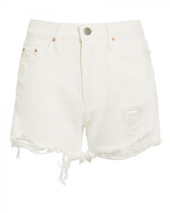 Helena White Distressed Shorts