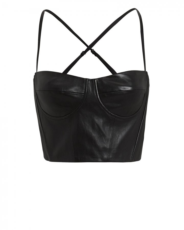 Black Leather Bustier Top