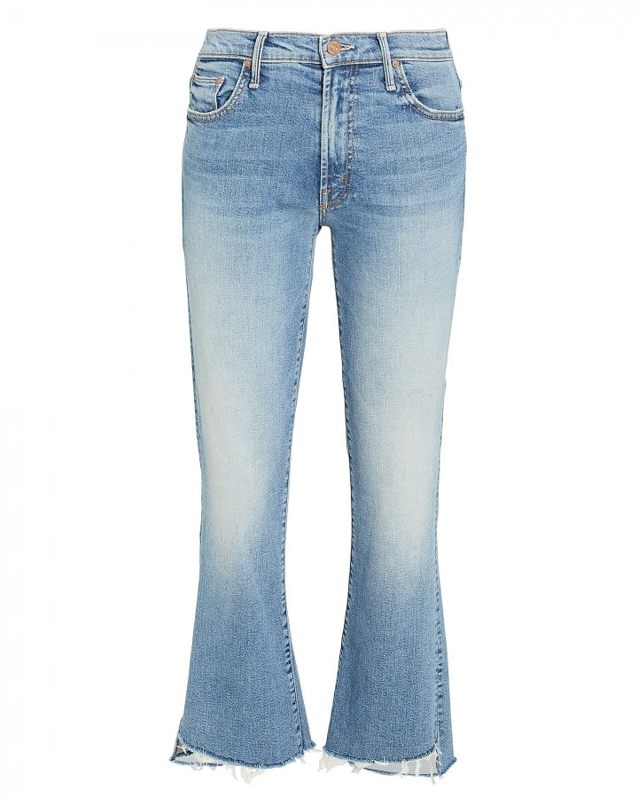 Insider Crop Step Fray Light Blue Jeans