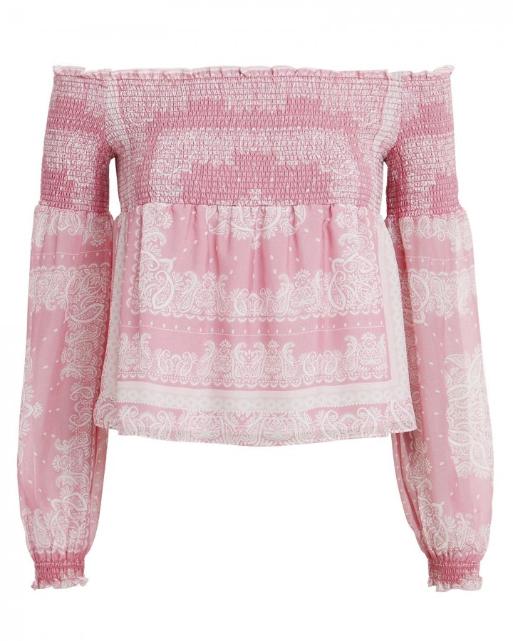 Penelope Paisley Off-the-Shoulder Top