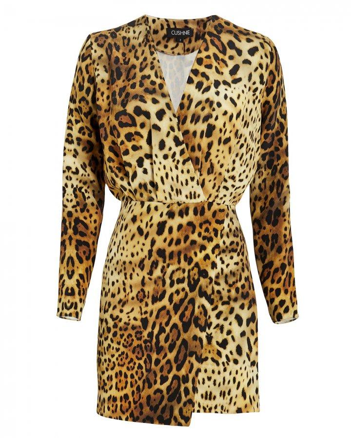 Leopard Print Silk Mini Dress
