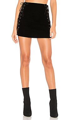 Luna Velvet Lace Up Mini Skirt                     by the way.