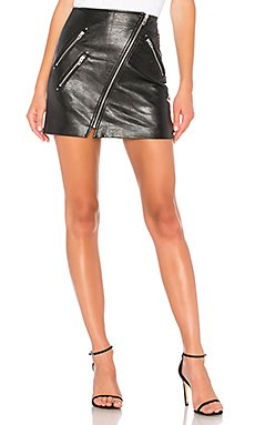 Vegan Leather Front Zip Mini Skirt                     BLANKNYC