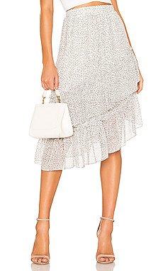 Tiered Asymmetrical Chiffon Midi Skirt                     1. STATE